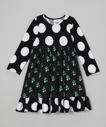 Black & White Polka Dot Babydoll Dress - Toddler & Girls