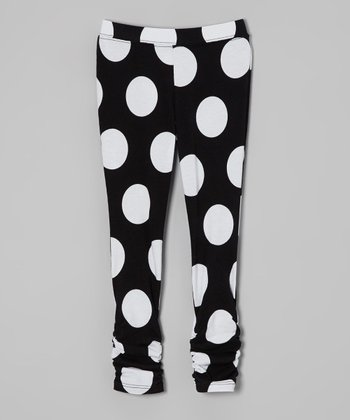 Black & White Polka Dot Ruched Leggings - Infant, Toddler & Girls