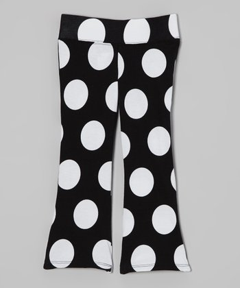 Black & White Polka Dot Flare Pants - Infant, Toddler & Girls