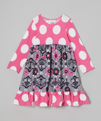 Pink & Gray Polka Dot Babydoll Dress - Infant, Toddler & Girls