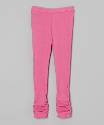 Bright Pink Ruched Leggings - Infant & Toddler