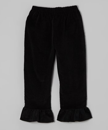 Black Corduroy Ruffle Pants - Infant, Toddler & Girls