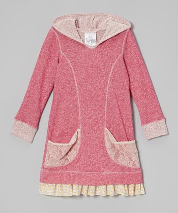 Fuchsia Lace Pocket Hoodie Dress - Toddler & Girls