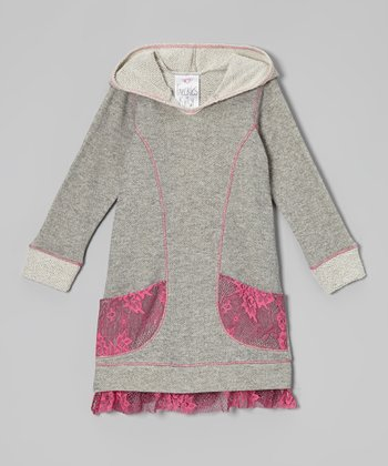 Heather Gray Lace Pocket Hoodie Dress - Toddler & Girls