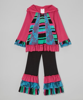 Fuchsia Lace Stripe Ruffle Tunic & Leggings - Toddler & Girls