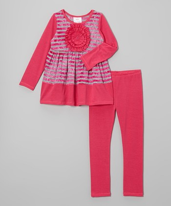 Pink & Gray Stripe Rosette Tunic & Leggings - Toddler & Girls