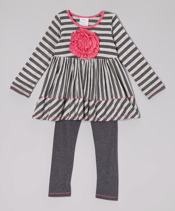 Gray & Charcoal Stripe Rosette Tunic & Leggings - Toddler & Girls