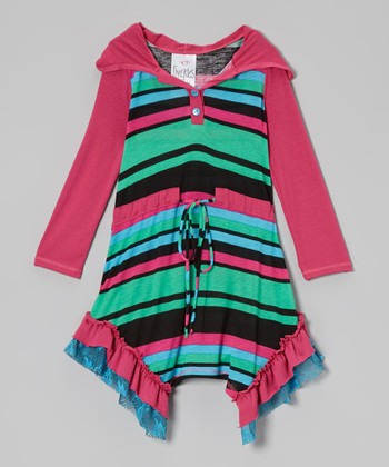 Pink & Black Stripe Ruffle Hoodie Dress - Toddler & Girls