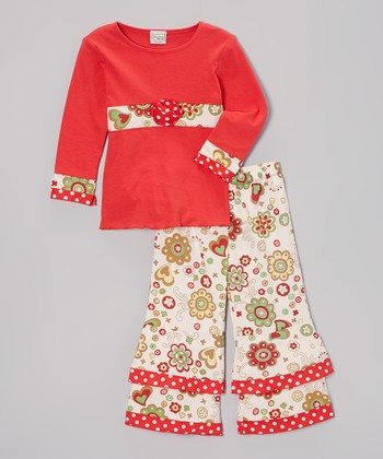 Red Flower Chris Tunic & Pants - Infant, Toddler & Girls