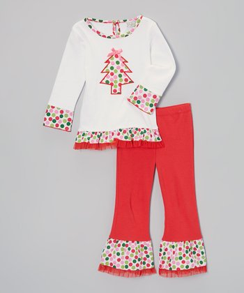 Red Polka Dot Tree Tunic & Ruffle Pants - Infant, Toddler & Girls