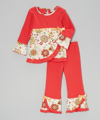 Red Holiday Wrap Tunic & Ruffle Pants - Toddler & Girls