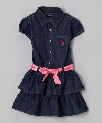Dark Denim Blue Ruffle Sash Button-Up Dress - Girls