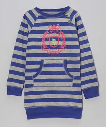 International Blue Stripe Pocket Sweater - Girls