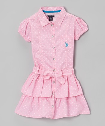 Bubble Gum Ruffle Sash Shirt Dress - Girls