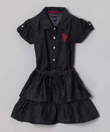 Navy Ruffle Sash Shirt Dress - Girls