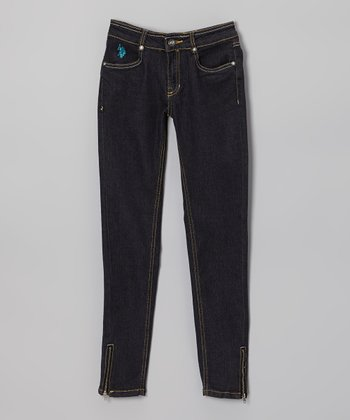 Navy Blue Zipper Skinny Jeans - Girls
