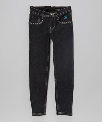 Navy Blue Embellished Skinny Jeans - Girls