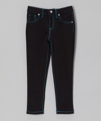 Black & Blue Skinny Jeans - Toddler