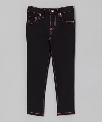 Black & Pink Skinny Jeans - Toddler