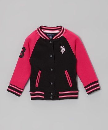 Pink & Black Varsity Jacket - Toddler