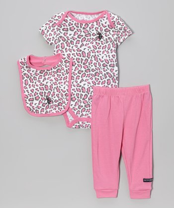 Berry Pink Jungle Cat Bodysuit Set - Infant