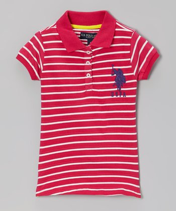 Berry Stripe Polo - Toddler & Girls