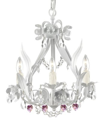 White & Pink Heart Crystal Floral Chandelier