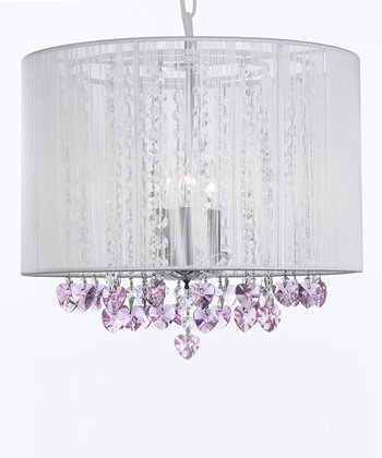 White & Pink Heart Crystal Shade Chandelier