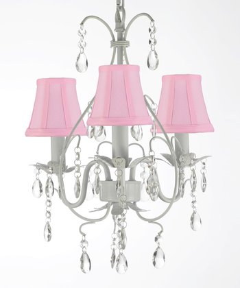 White & Pink Shade Chandelier