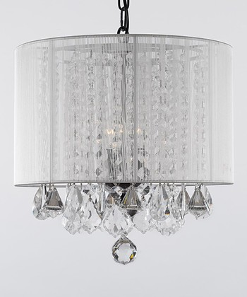 White Crystal Shade Chandelier