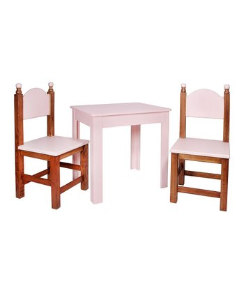 Antique Pink Three-Piece Table Set