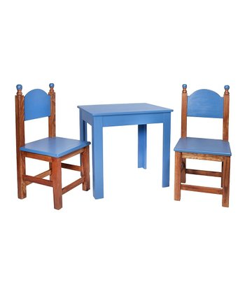 Antique Blue Three-Piece Table Set