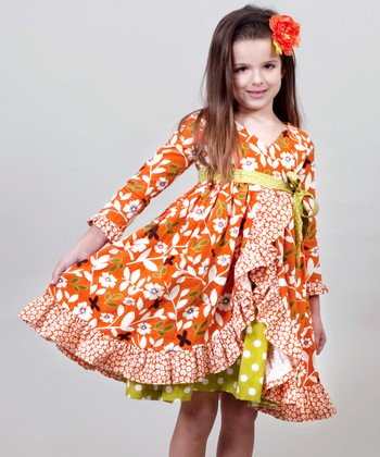 Orange & Green Maple Jordan Dress - Toddler & Girls