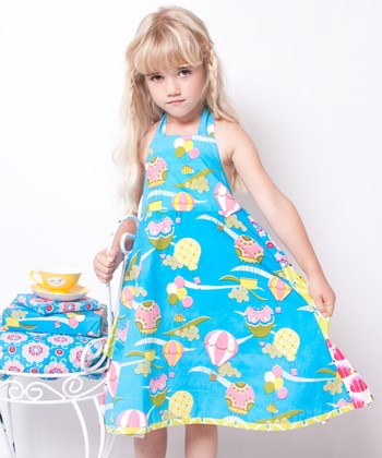 Teal & Pink Up Up & Away Halter Dress - Infant, Toddler & Girls