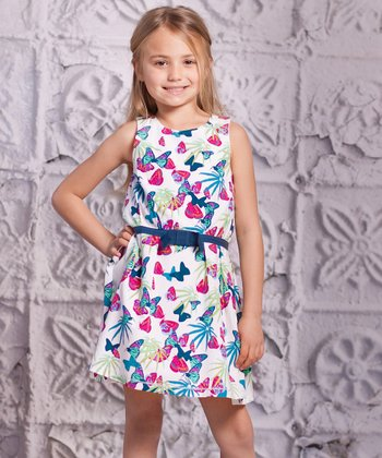 Turquoise Butterfly Lia Dress - Infant & Toddler