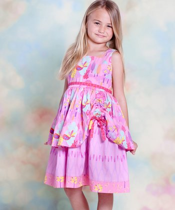 Yellow & Pink Nature Tenley Dress - Infant, Toddler & Girls
