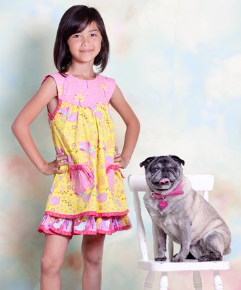 Yellow & Pink Nature Sailor Dress - Infant, Toddler & Girls