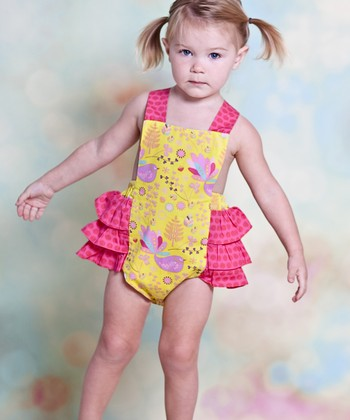 Yellow & Pink Nature Ruffle Sunsuit - Infant