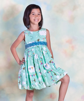 Aqua Cloud Bubble Dress - Infant