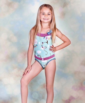 Aqua Hello Summer Ocean One-Piece - Toddler & Girls