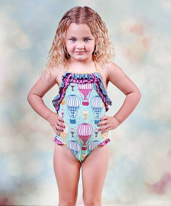 Aqua Hello Summer Blue Sky One-Piece - Toddler & Girls