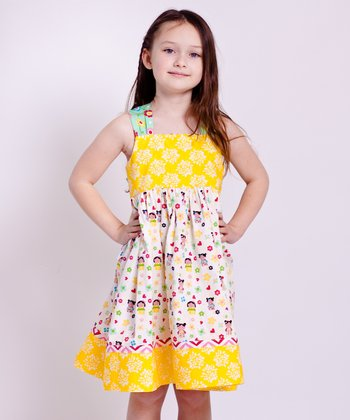 Yellow Kokeshi Reverse Knot Dress - Infant, Toddler & Girls