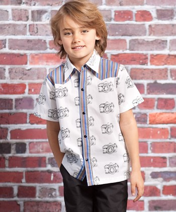Gray Vintage Camera Preston Button-Up - Infant, Toddler & Boys