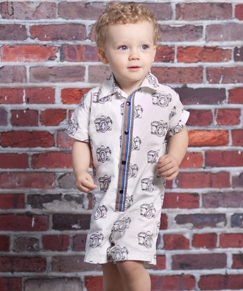 Gray Vintage Camera Oliver Button Romper - Infant