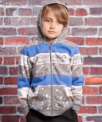 Gray Vintage Camera Skylar Zip-Up Hoodie - Infant & Toddler