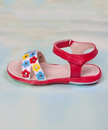 Red & Yellow Flower Sandal