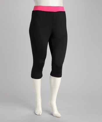 Pink & Black Capri Pants - Plus