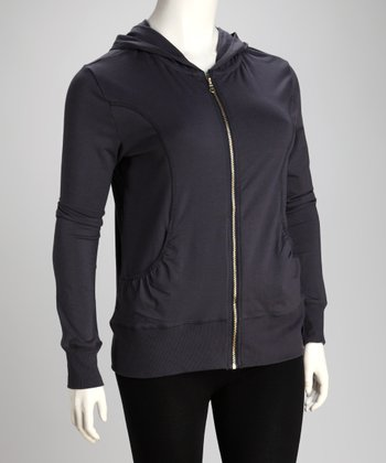 Gray Princess Seam Zip-Up Hoodie - Plus