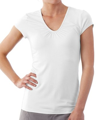 White Kassia Cap-Sleeve Top