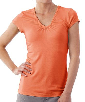 Papaya Kassia Cap-Sleeve Top